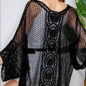 Sweaters - Black Crochet Cardigan